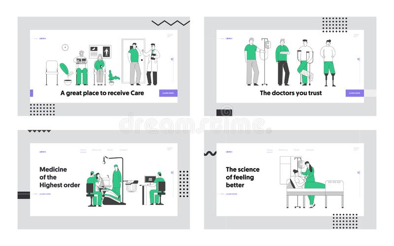 Client in Dentist Office, Disabled People, Patiëntenleuze in Hospital Chamber Website Landing Page Set Senior People royalty-vrije illustratie