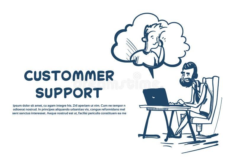 Client en ligne de plate-forme de bureau d'opérateur de bulle de client d'homme d'agent de casque de centre d'assistance et icône illustration libre de droits