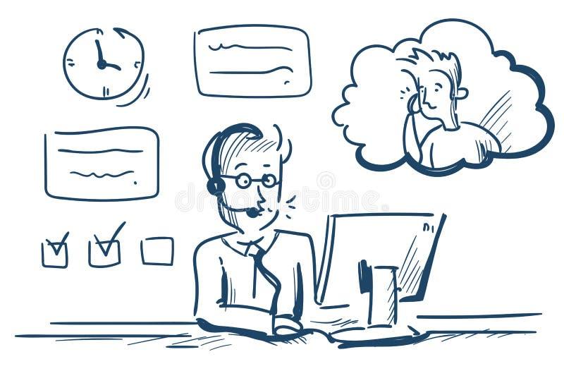Client en ligne de plate-forme de bureau d'opérateur de client d'homme d'agent de casque de centre d'assistance et icône de servi illustration de vecteur