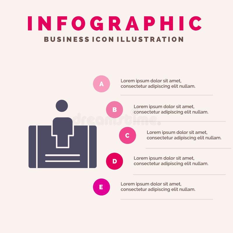 Client, engagement, mobile, fond solide social de présentation d'étapes d'Infographics 5 d'icône illustration stock