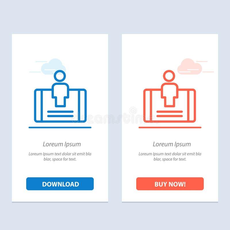 Client, engagement, mobile, téléchargement bleu et rouge social et acheter maintenant le calibre de carte de gadget de Web illustration stock