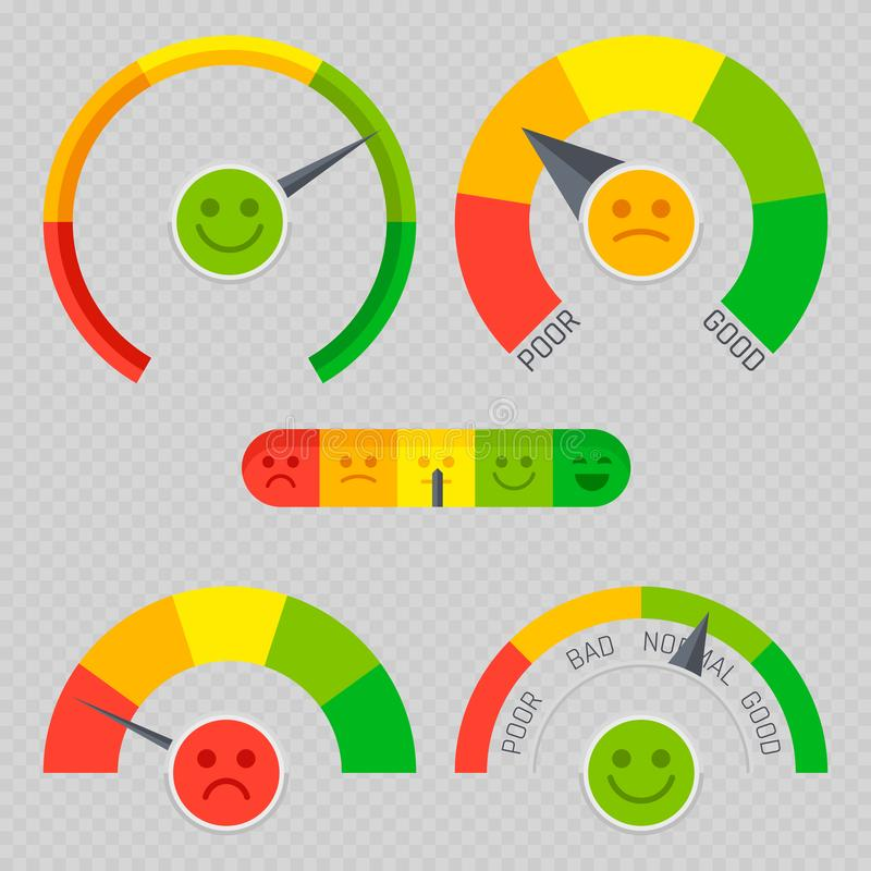Client feedback emotion pain scales isolated on background vector illustration