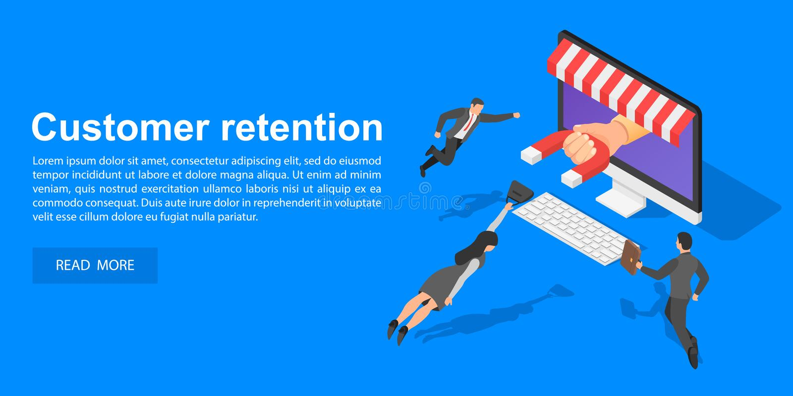Client retention concept banner, isometric style vector illustration