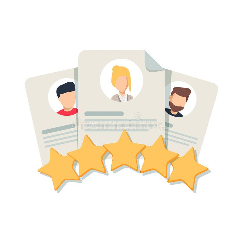 Client`s Review, Customer Feedback, User`s Comment or Satisfaction Level. Portraits of three people vector illustration
