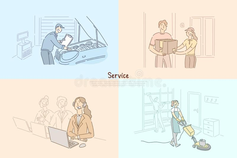 Client service business, car repair shop mechanic, technical support, call center, order delivery banner template royalty free illustration