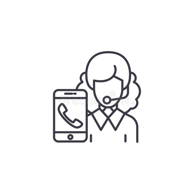Client service linear icon concept. Client service line vector sign, symbol, illustration. royalty free illustration