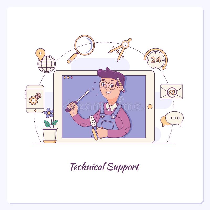 Client service word concepts banner. Customer support. Technical support, call center, customer retention. Vector outline illustration royalty free illustration
