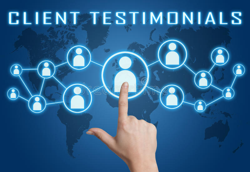 Client Testimonials. Concept with hand pressing social icons on blue world map background stock illustration