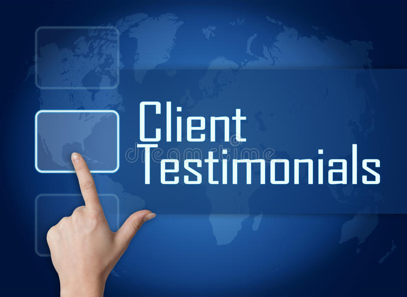 Client Testimonials. Concept with interface and world map on blue background vector illustration