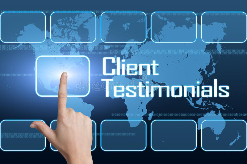 Client Testimonials. Concept with interface and world map on blue background royalty free illustration