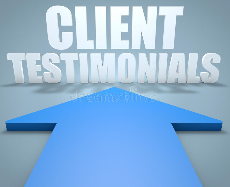 Client Testimonials. 3d render concept of blue arrow pointing to text stock illustration