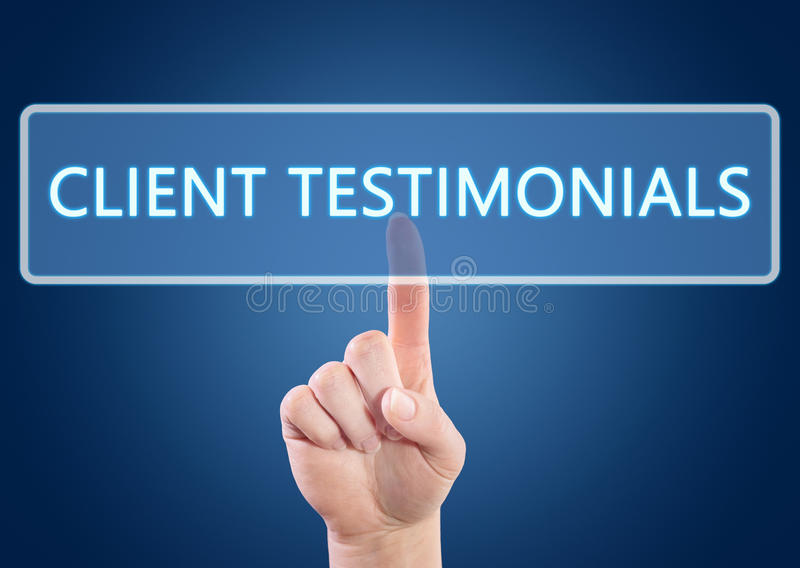 Client Testimonials. Hand pressing Client Testimonials button on interface with blue background stock illustration