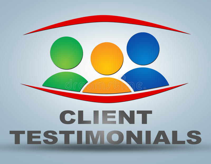 Client Testimonials. Illustration concept on grey background with group of people icons stock illustration
