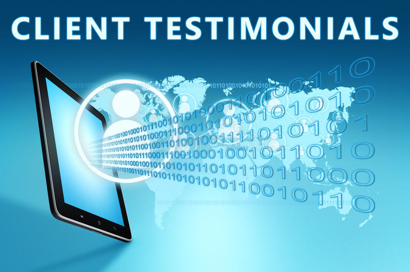 Client Testimonials. Illustration with tablet computer on blue background stock illustration