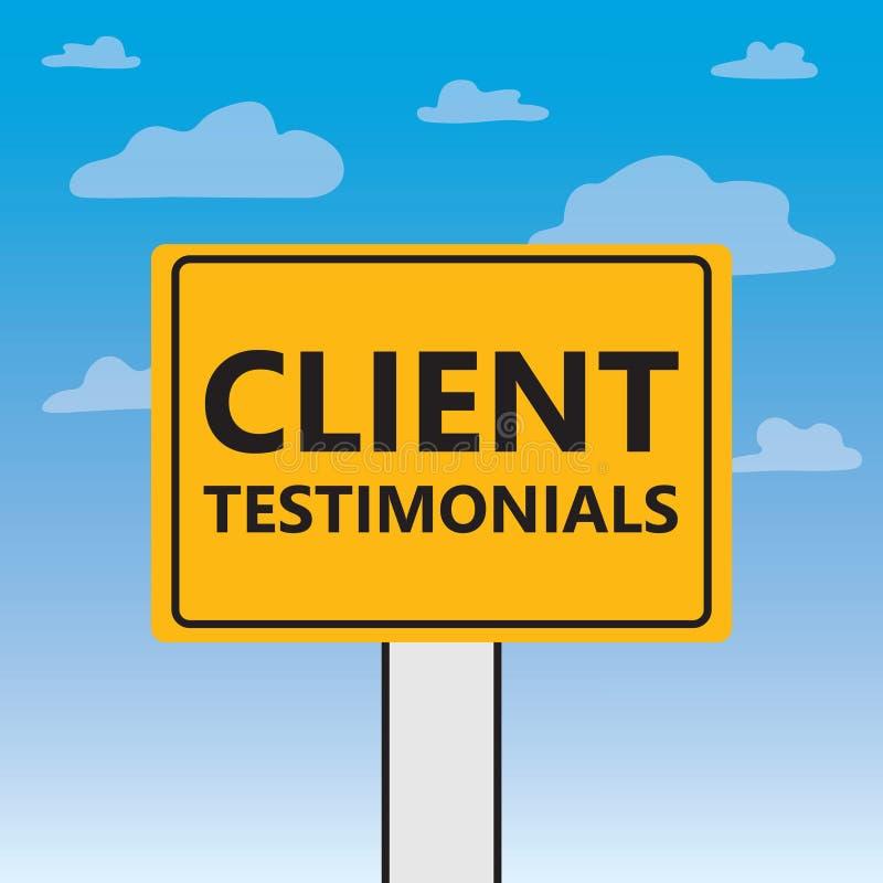 Client testimonials written on a billboard royalty free illustration