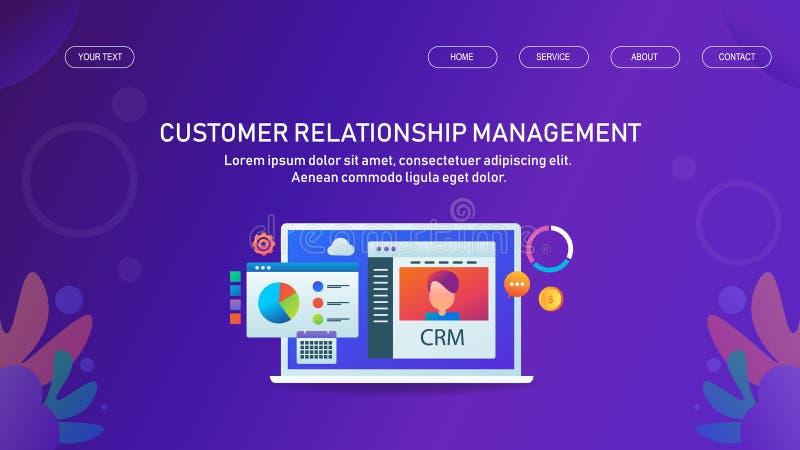 Client, ventes, logiciel de gestion du marketing, outils, solution d'affaires de b2b pour l'entreprise commerciale illustration stock