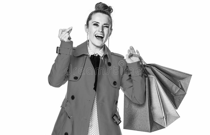 Cliente élégante de sourire de femme sur les doigts de rupture blancs images libres de droits