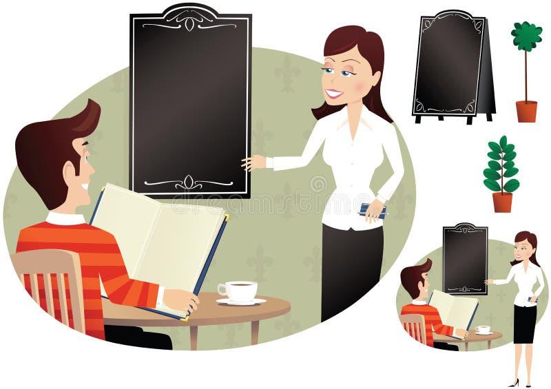 Cliente da empregada de mesa e do homem ilustração royalty free