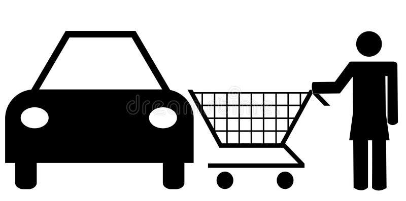 Cliente de femme au véhicule illustration de vecteur