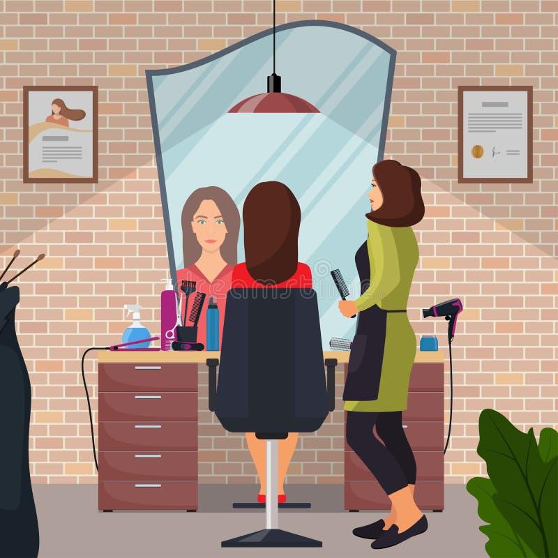 Cliente del peluquero y de la mujer en salón de la peluquería de la belleza Silla, espejo, tabla, herramientas de la peluquería,  stock de ilustración