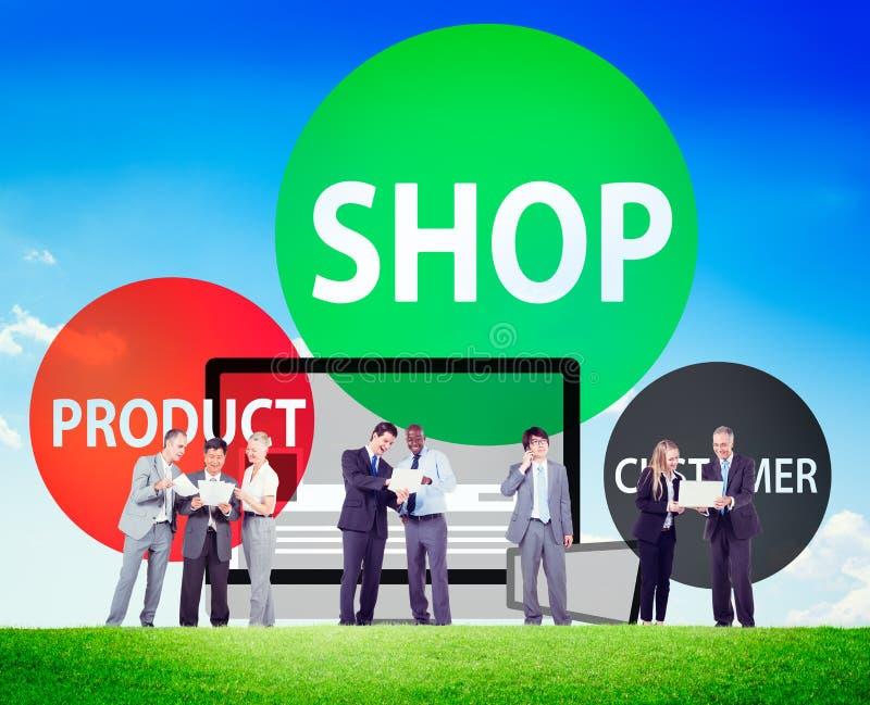 Cliente del prodotto del negozio che compra concetto commerciale del consumatore illustrazione di stock