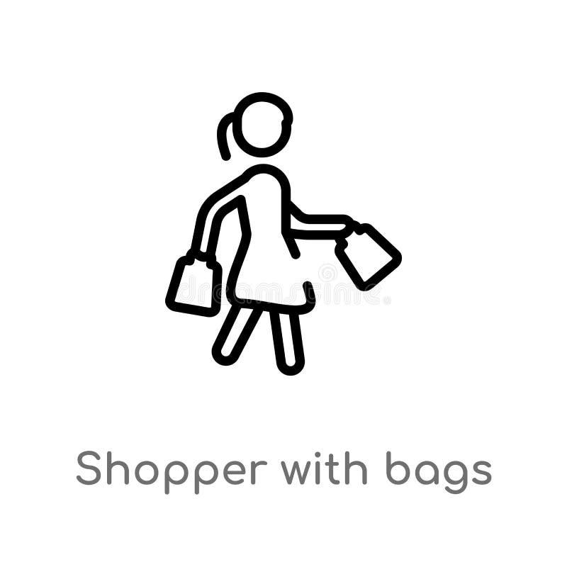 cliente del profilo con l'icona di vettore delle borse linea semplice nera isolata illustrazione dell'elemento dal concetto di co illustrazione vettoriale