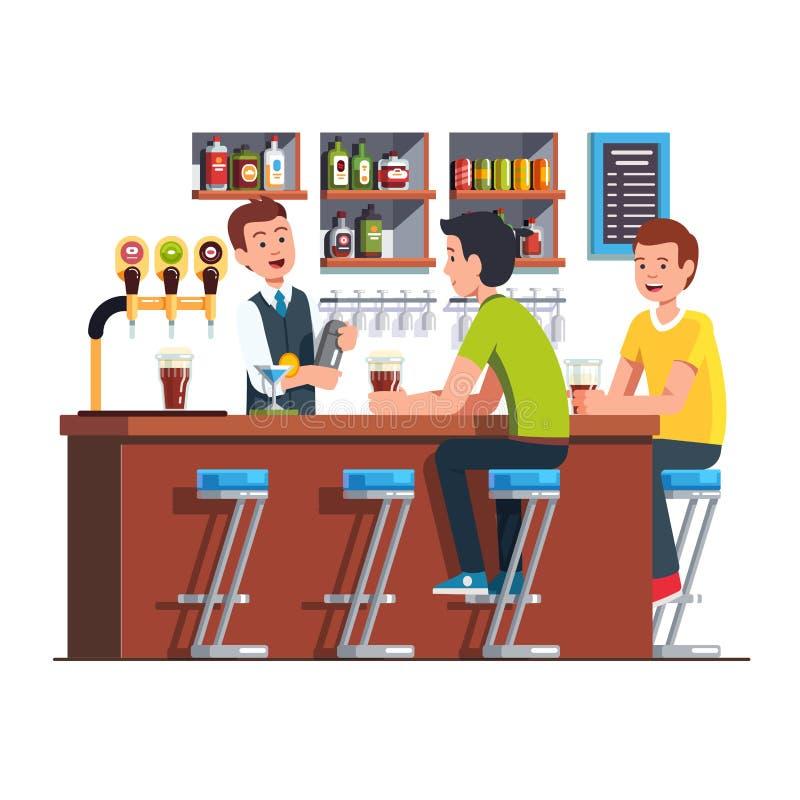 Cliente del servizio del barista Barista che fa cocktail royalty illustrazione gratis