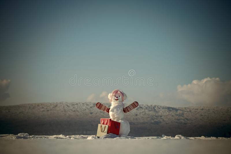 Cliente do boneco de neve do Natal no chapéu elegante e na peruca cor-de-rosa imagem de stock