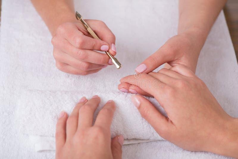 Cliente e manicuro no salão de beleza do tratamento de mãos fotografia de stock