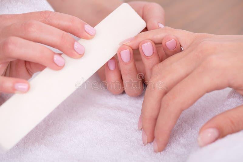 Cliente e manicuro no salão de beleza do tratamento de mãos imagens de stock