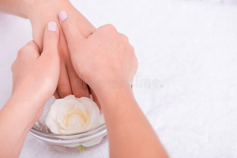 Cliente e manicuro no salão de beleza do tratamento de mãos imagem de stock royalty free