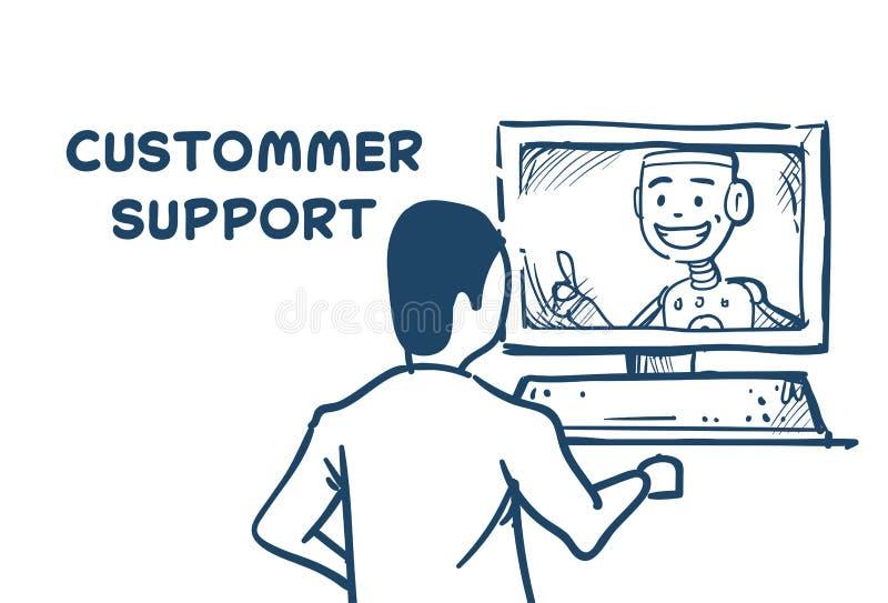 Cliente en línea del operador del cliente de la inteligencia artificial del ordenador del agente del robot del centro de ayuda e  stock de ilustración