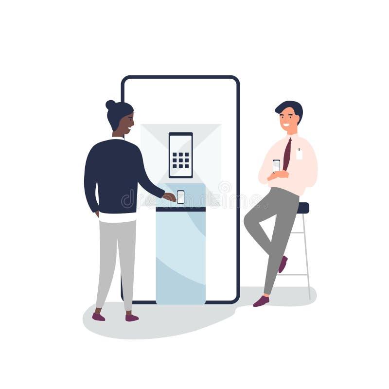Cliente escolhendo smartphone na ilustração de vetor plano de loja eletrônica Gerente de vendas, gadgets de publicidade de consul ilustração do vetor