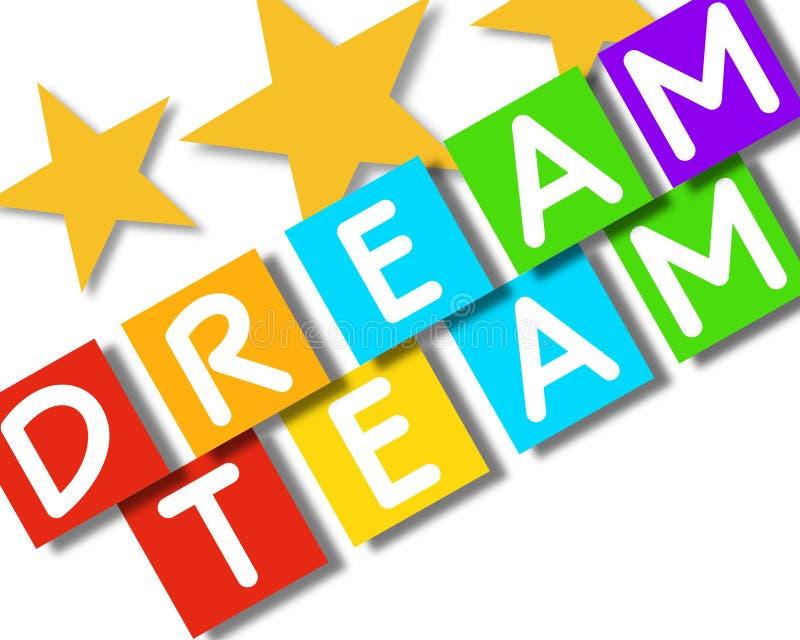 Cliente feliz, objetivos, trabalhos de equipe - cartaz da imagem do negócio, qualidade super ilustração royalty free