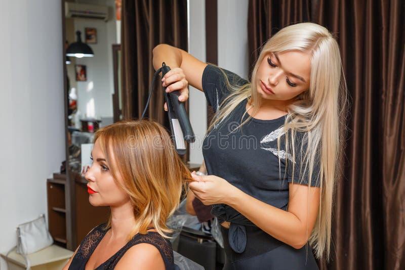 Cliente heureuse de femme dans le salon de coiffure, dénommer de cheveux images libres de droits