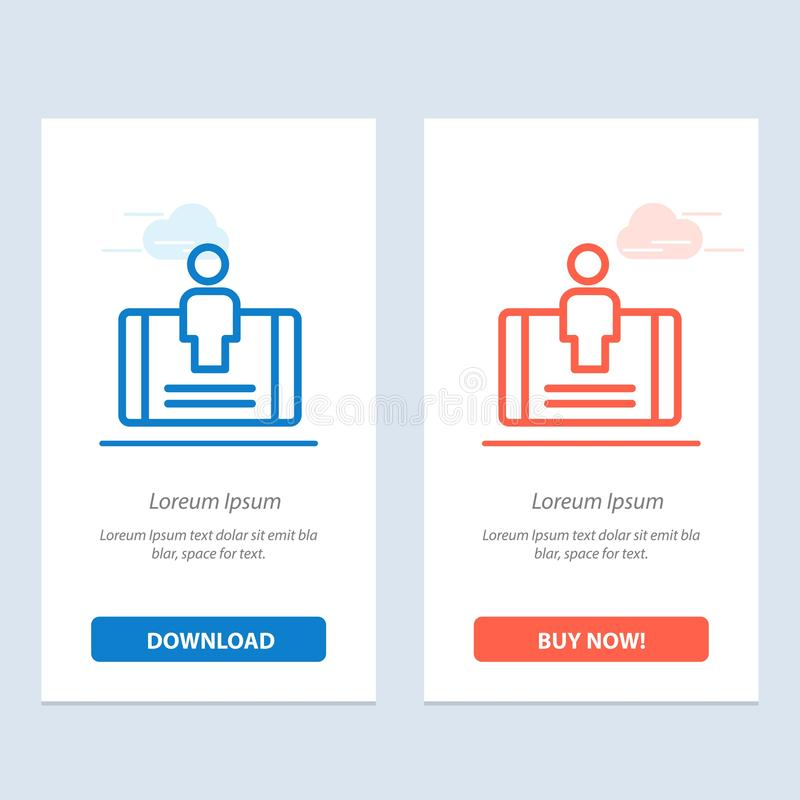 Cliente, impegno, cellulare, download blu e rosso sociale ed ora comprare il modello della carta del widget di web illustrazione di stock