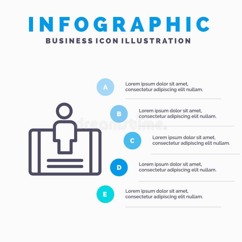 Cliente, impegno, cellulare, linea sociale icona con il fondo di infographics di presentazione di 5 punti illustrazione vettoriale