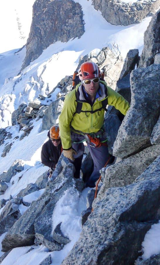 Cliente masculino principal do guia da montanha à cimeira de um pico alpino alto em um dia de verão bonito foto de stock