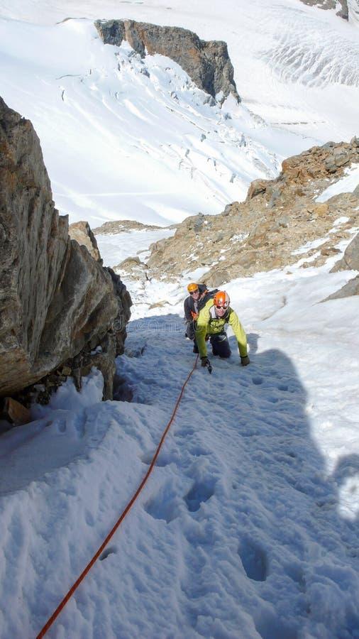 Cliente masculino principal do guia da montanha à cimeira de um pico alpino alto em um dia de verão bonito fotos de stock royalty free