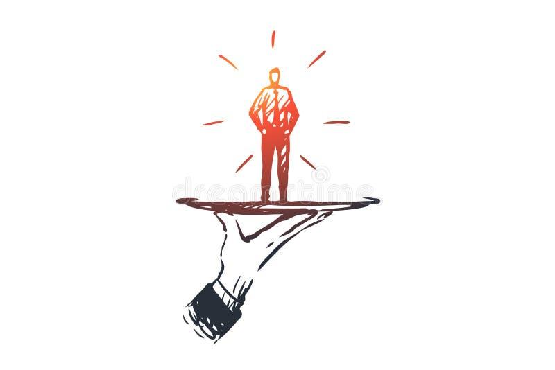 Cliente, negócio, serviço, ajuda, conceito do cliente Vetor isolado tirado mão ilustração do vetor