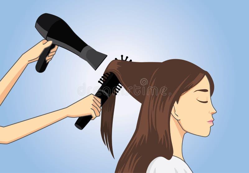 Cliente para conseguir un brushing del salón stock de ilustración