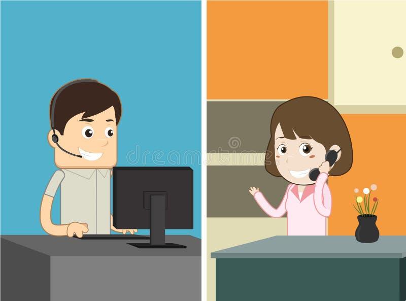 Cliente que chama a ilustração do personagem de banda desenhada do serviço ao cliente ilustração royalty free