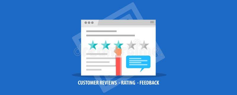 Cliente que dá a revisão, feedback, avaliando em um Web site, experiência do cliente, satisfação, conceito da avaliação Bandeira  ilustração stock