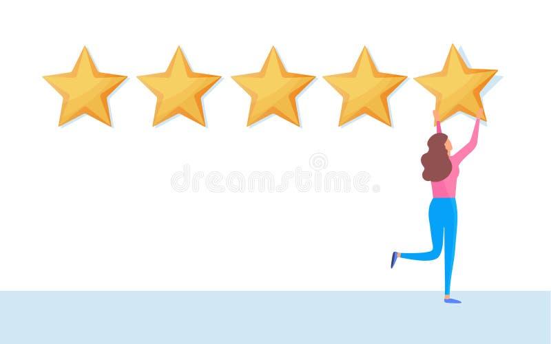 Cliente que da el grado de cinco estrellas Voluta del comentario de la reacción de usuario Gráfico de vector del ejemplo de la hi ilustración del vector