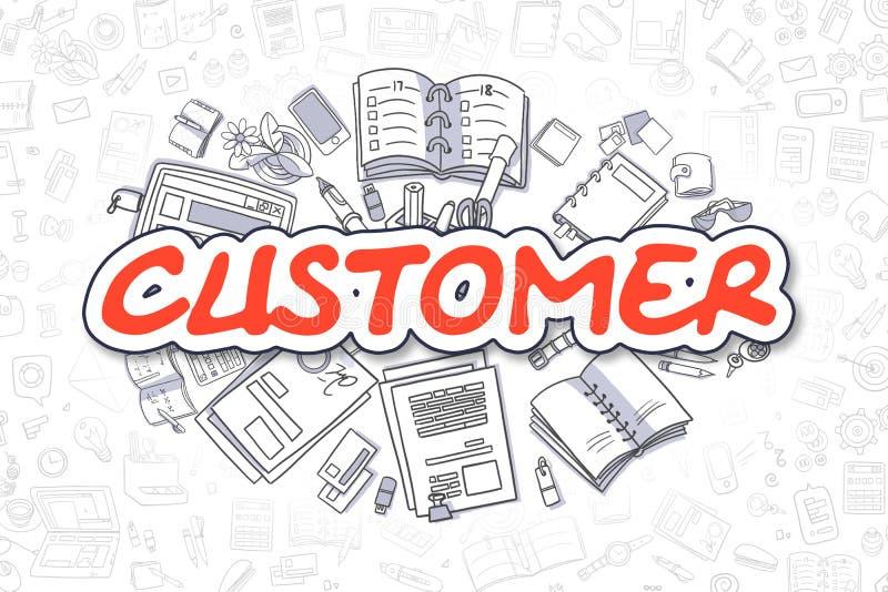 Cliente - testo di rosso di scarabocchio Concetto di affari illustrazione di stock