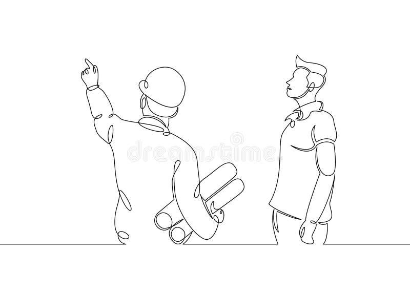 Cliente y arquitecto con los dibujos libre illustration