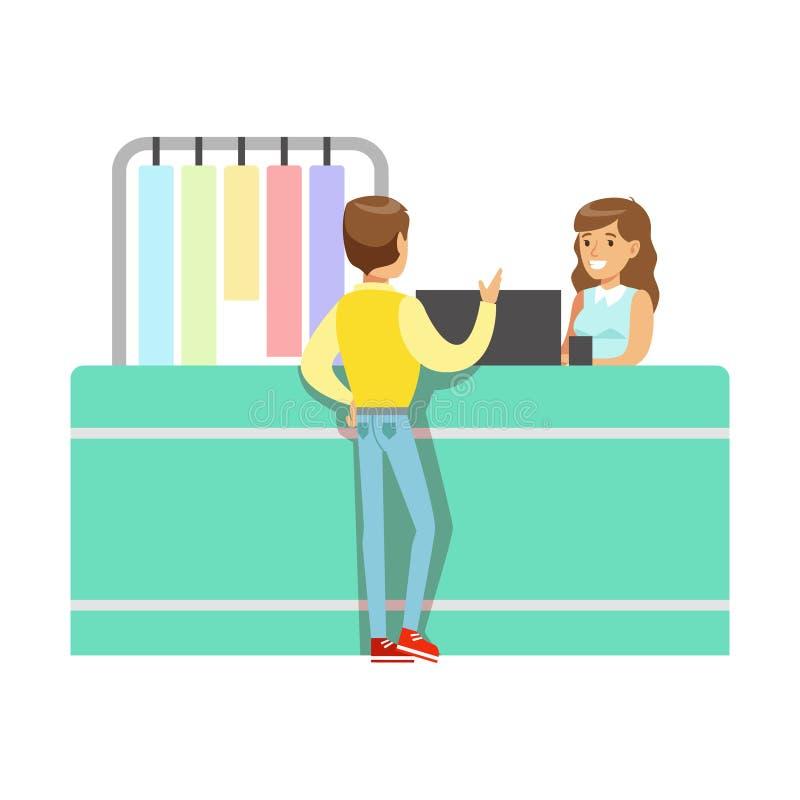 Cliente y trabajador en el contador de la limpieza en seco, parte de gente que usa el sistema del servicio profesional de la limp libre illustration