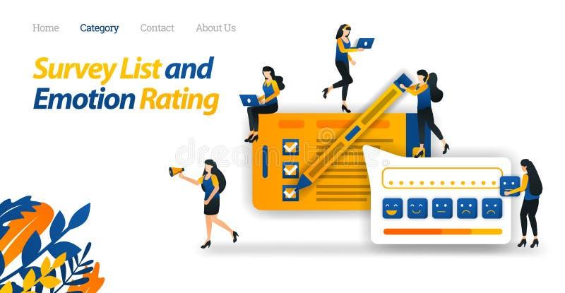 Clientes Carry Out Satisfaction Surveys a los servicios en línea de la tienda y proveer de diversos grados emocionales el Emotico ilustración del vector