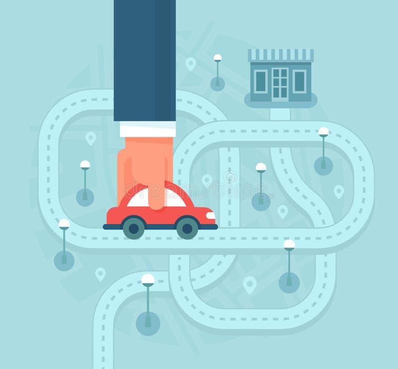Clientes da ajuda para encontrar o negócio local pelo carro ilustração do vetor
