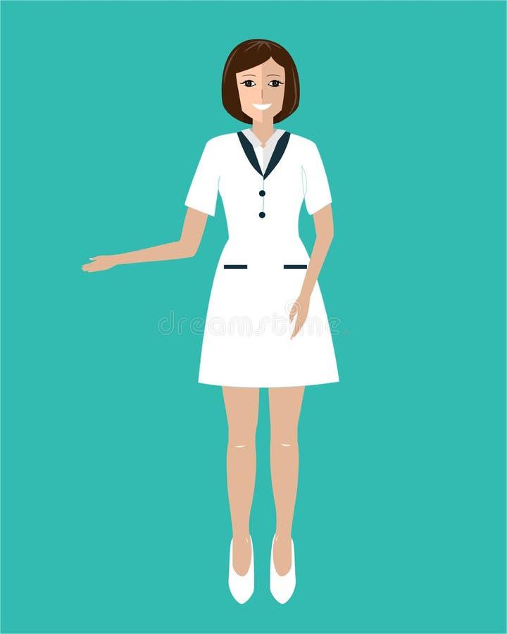Clientes de convite do doutor amigável da mulher à clínica Ilustra??o lisa do vetor ilustração royalty free